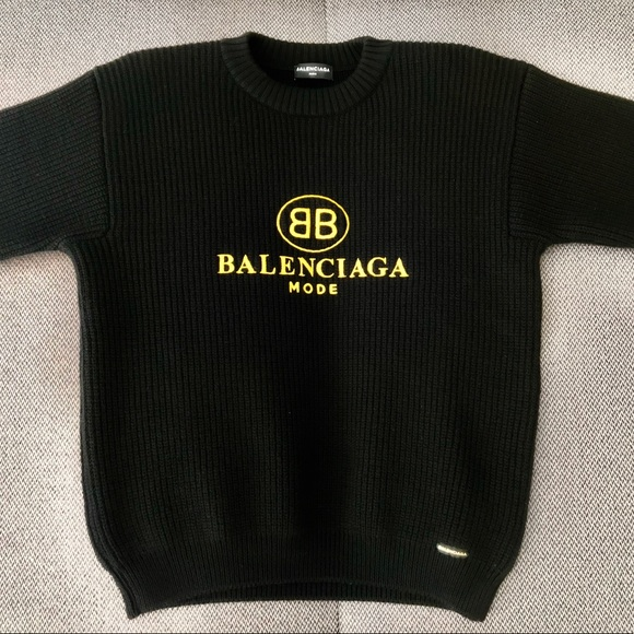 8e6506d87d4 Balenciaga Tops | Bb Logo Embroidered Sweater | Poshmark